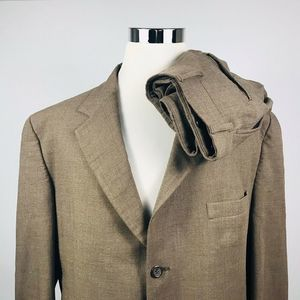 Jos A Bank Mens 46L Suit 36 x 31 Pleated Brown
